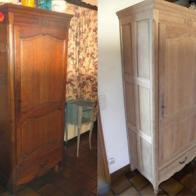 Le décapage, première étape d\'une rénovation de meubles.